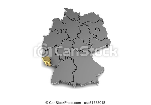 Metal germany map with saarland region highlighted in clipart