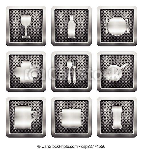 metal grid icons - csp22774556