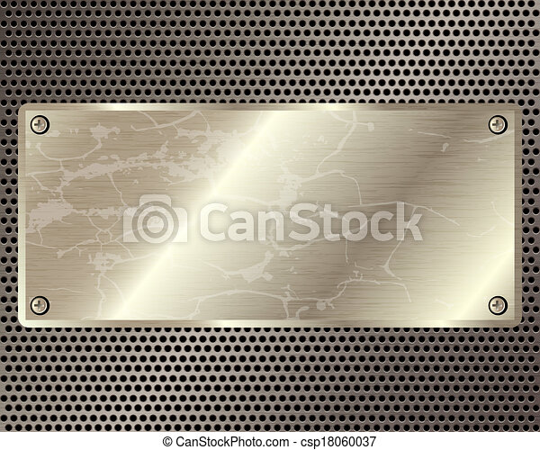 Metal grille with  plate in the center - csp18060037