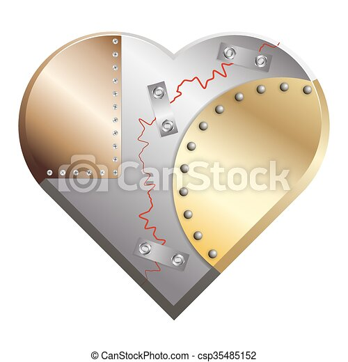 Metal heart cracked assembled from copper, silver and gold - csp35485152