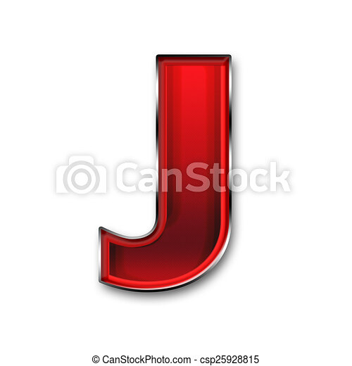 Metal Letter J In Red Isolated On White Background