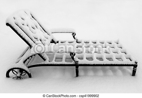 Metal Lounge Chair in the Snow - csp41999902