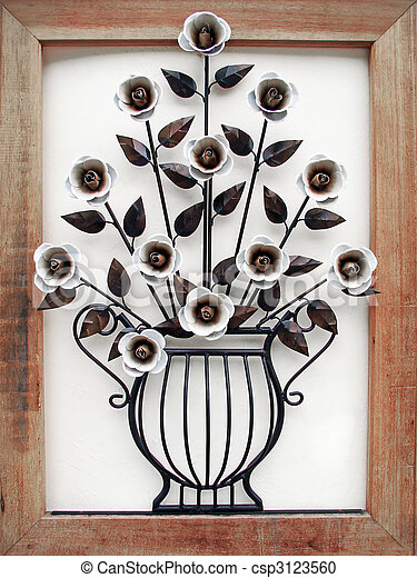 metal made flower and vase with wood frame - csp3123560