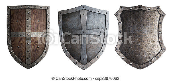 metal medieval shields set isolated  - csp23876062