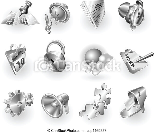 Metal metallic web and application icon set - csp4469887
