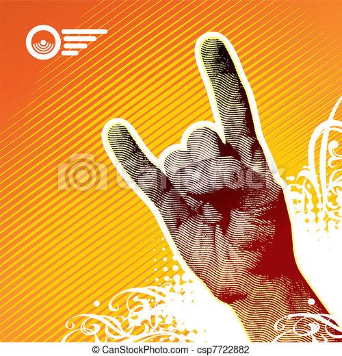 metal pesado, -, ilustração, sinal, vetorial, mão - csp7722882