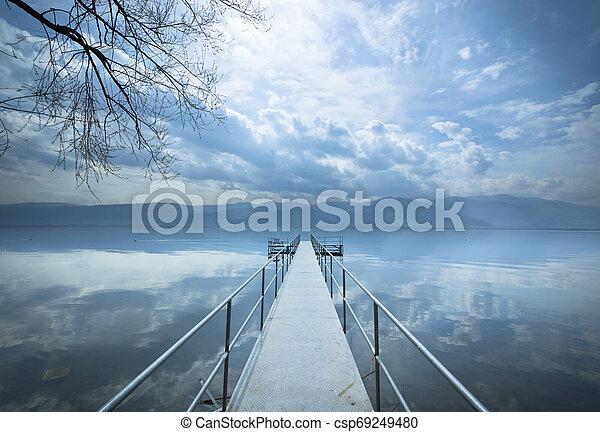 Metal pier on the lake - csp69249480