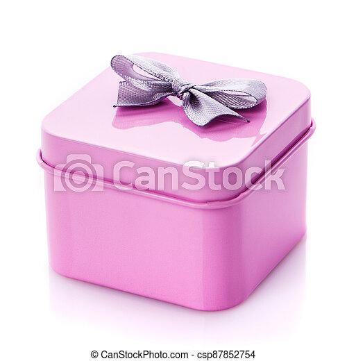 Metal pink box with gray satin bow close up. - csp87852754