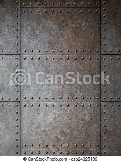 Una armadura de acero con remaches - csp24325189