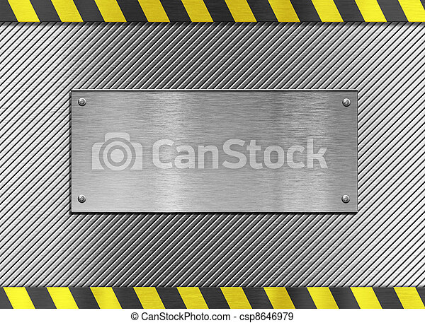 metal plate background with hazard stripes - csp8646979