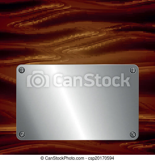 Metal plate on wooden surface - csp20170594