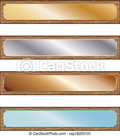 Metal plates with wood frames - csp16203101