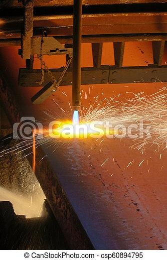 metal, quentes, corte, gás - csp60894795