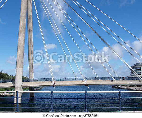 metal railings on the seafront in crosby near southport with a dog on the beach under a blue cloudy sky - csp87589461