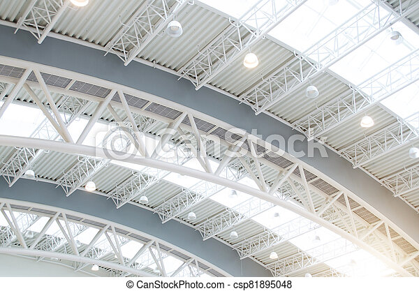 Metal roof interiors structure of modern building. - csp81895048