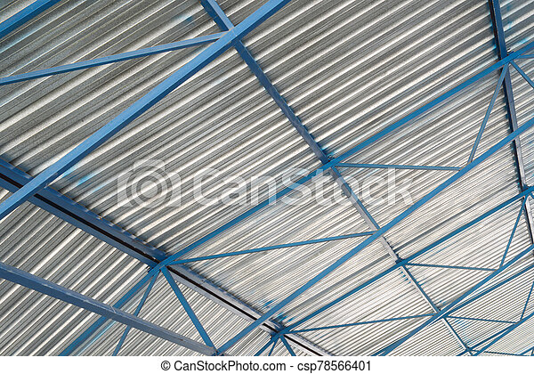 metal roof of industrial facility - csp78566401