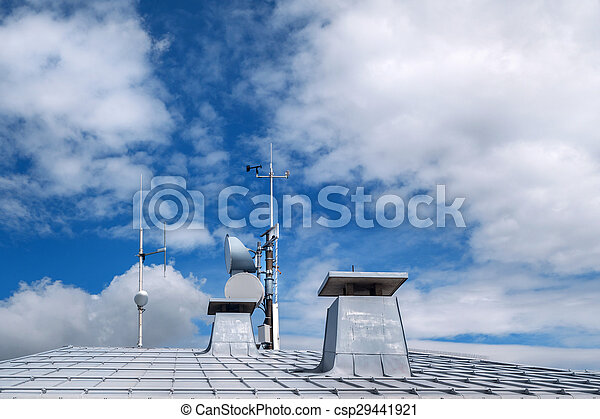 Metal roof with chimneys - csp29441921