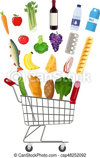 metal shopping cart full of groceries products grocery eps rh canstockphoto com grocery clipart black and white groceries clipart black and white
