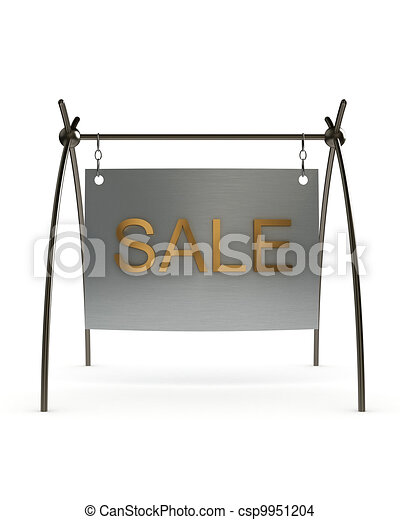 Metal signboard on a white background - csp9951204