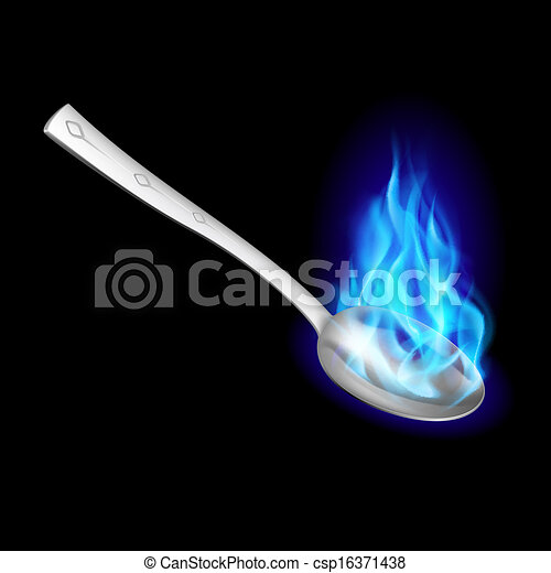 Metal spoon with blue fire. - csp16371438
