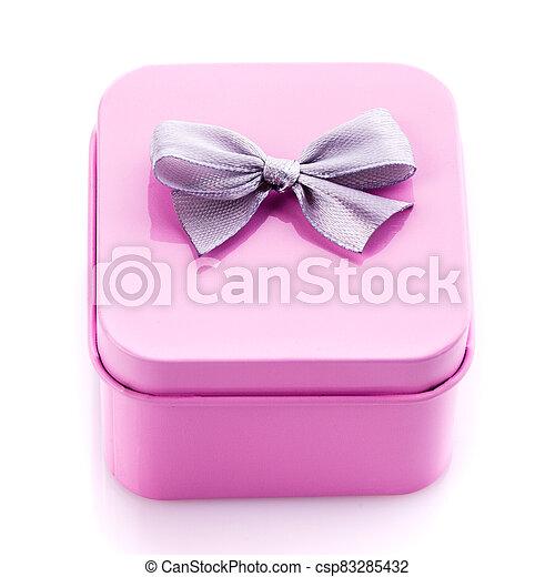 Metal square pink gift box on white background. - csp83285432