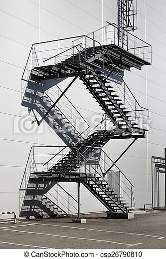 Metal Staircase On Fire Exit At Factory Metal Staircase