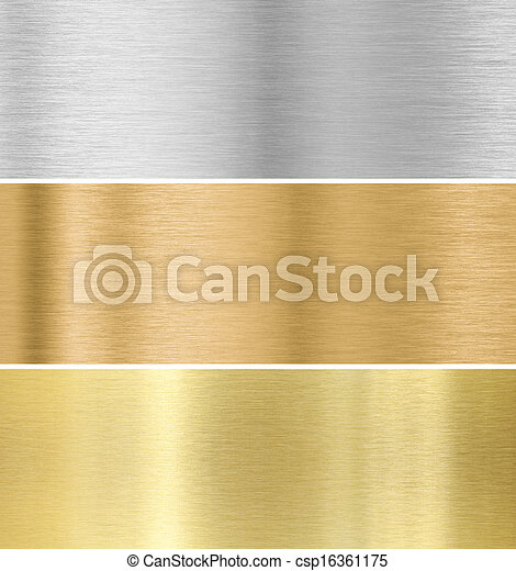 metal texture background : gold, silver, bronze  collection - csp16361175
