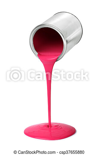Metal tin can pouring red paint - csp37655880