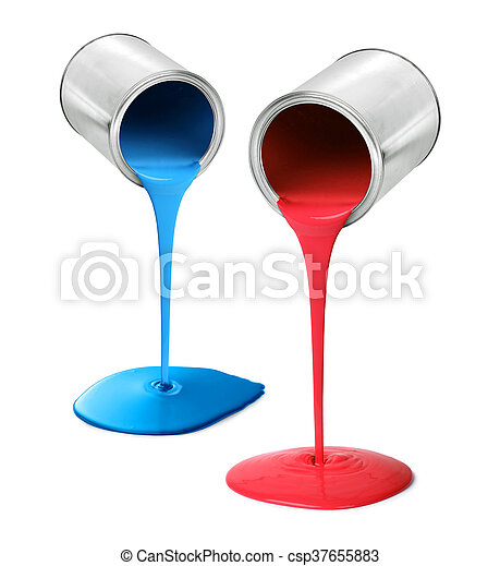 Metal tin cans pouring red and blue paint - csp37655883