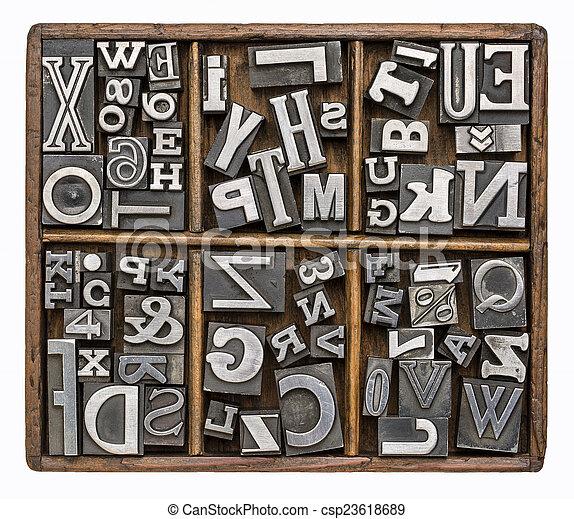metal type alphabet - csp23618689