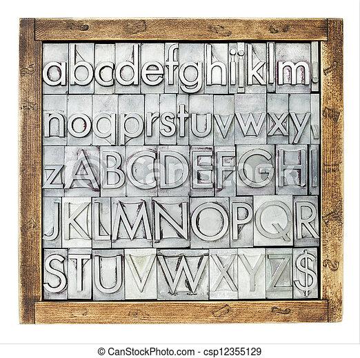 metal type alphabet - csp12355129