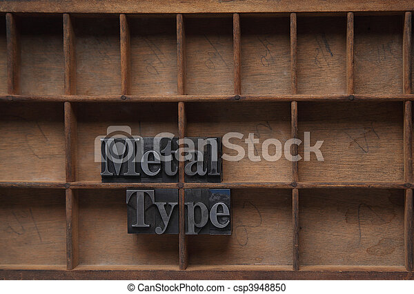 metal type in a wood case - csp3948850