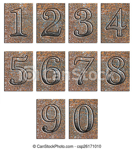 Metal type numbers isolated - csp26171010