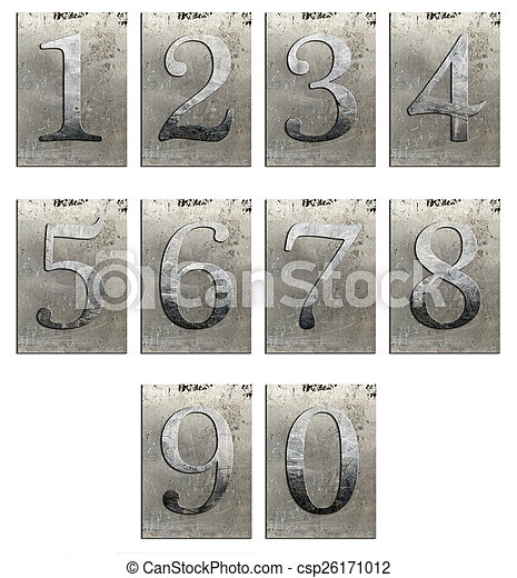 Metal type numbers isolated - csp26171012