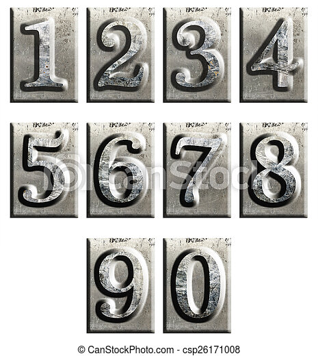 Metal type numbers isolated - csp26171008