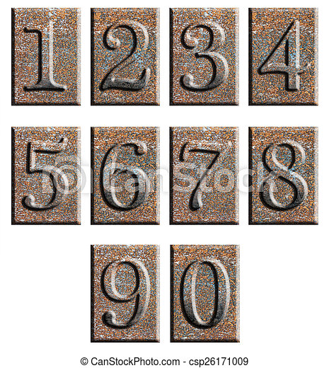 Metal type numbers isolated - csp26171009