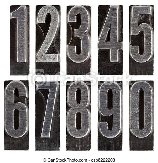 metal type numbers isolated - csp8222203