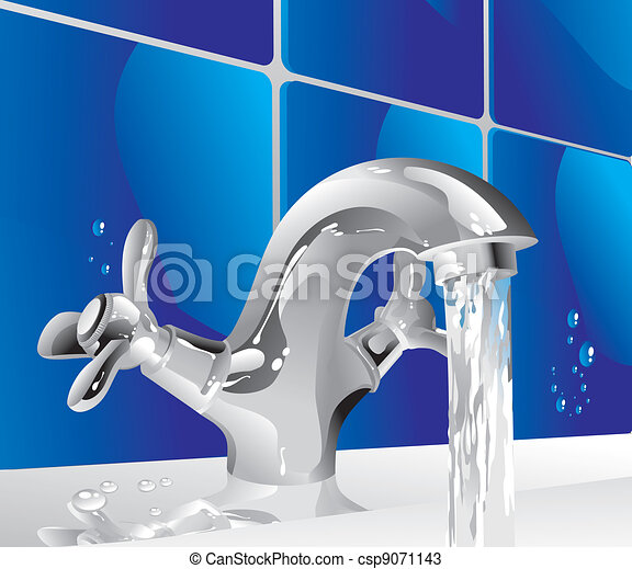 Metal water tap. Shiny metal tap with running water vectors - Search ...