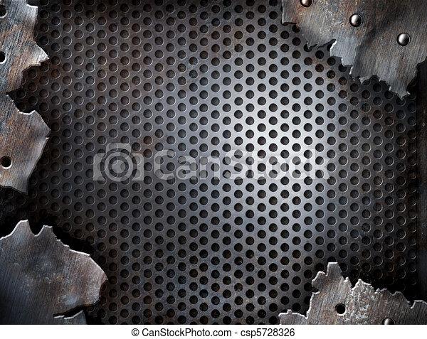 metall, grunge, nieten, hintergrund, riß - csp5728326