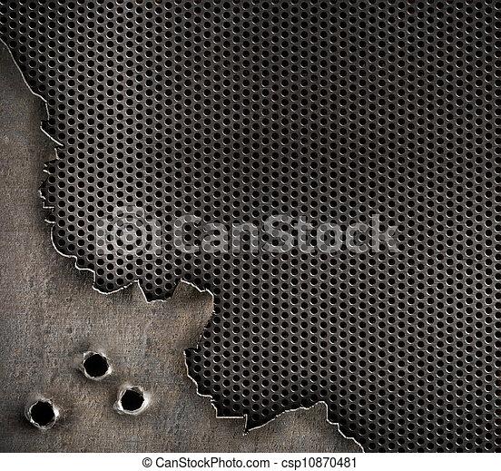 metall, löcher, hintergrund, kugel, militaer - csp10870481