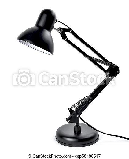 metall, lampe, schwarz, freigestellt, schreibtisch - csp58488517