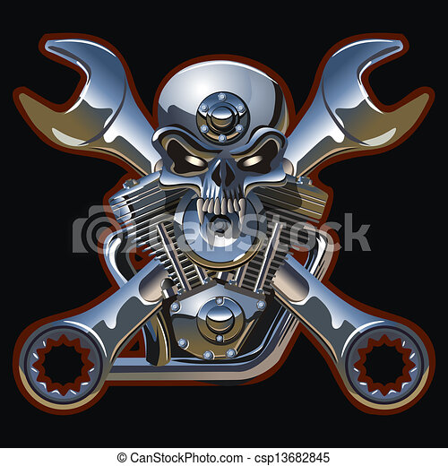 metall skull with engine available eps10 vector format