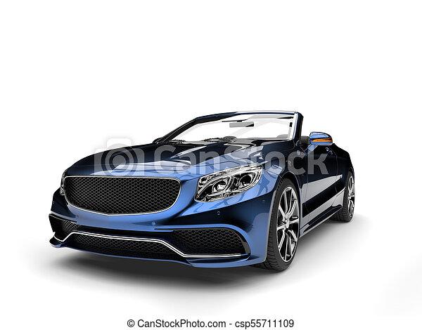 Metallic blue modern luxury convertible car - csp55711109