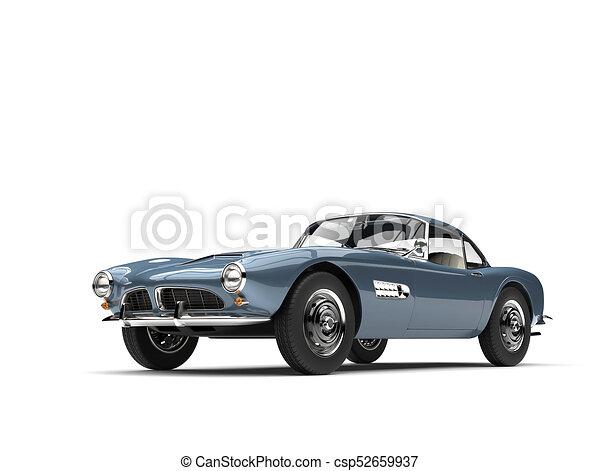 Metallic blue vintage sports car - csp52659937