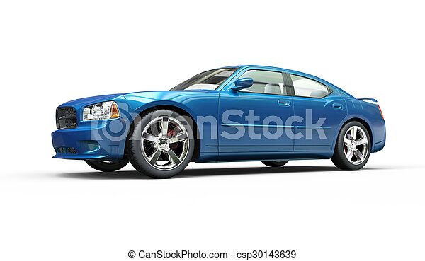 Metallic Bright Blue Fast Car - csp30143639