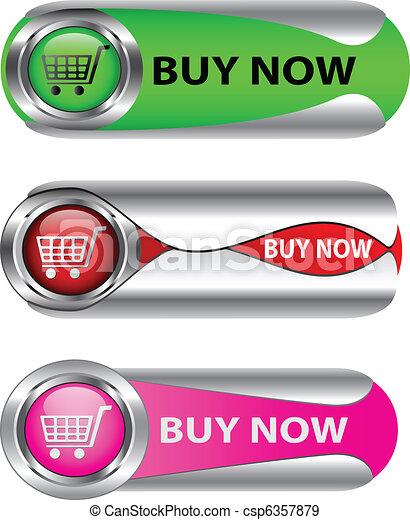 Metallic Buy Now button set - csp6357879