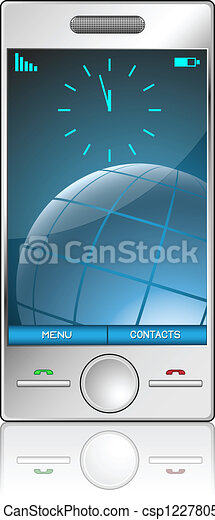 Metallic cell phone isolated on white background. - csp12278059