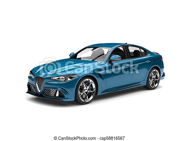 Metallic cerulean blue modern fast car - csp58816567
