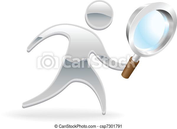 Metallic character magnifying glass concept - csp7301791