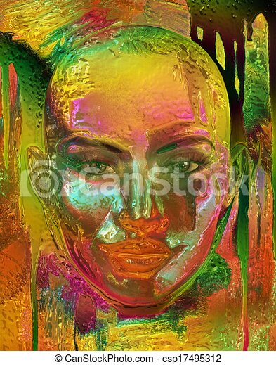 Metallic gold abstract,woman's face - csp17495312